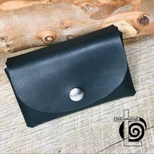 Handcrafted business card holder wallet black